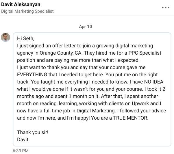 Davit A Testimonial