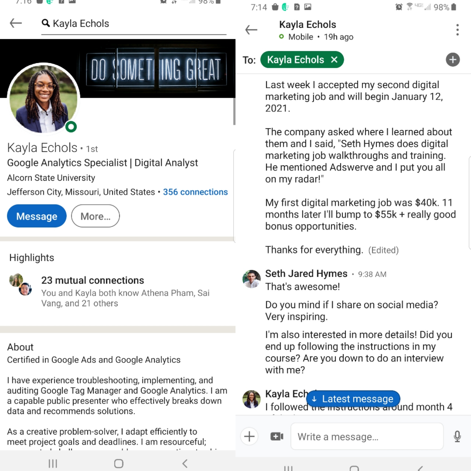 Kayla Testimonial