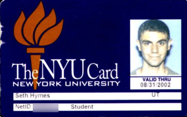 Seth Jared Hymes Old NYU ID